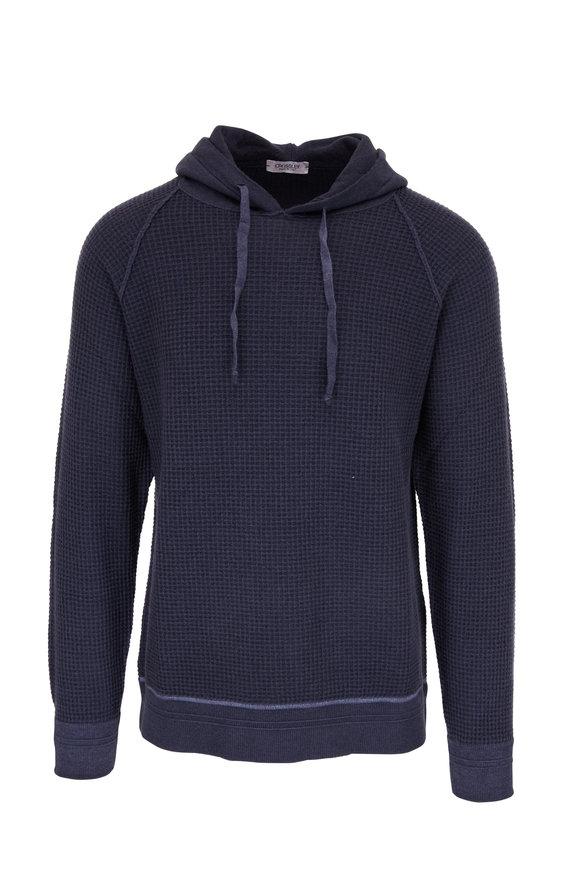 Crossley Dark Blue Wool Waffle Hoodie