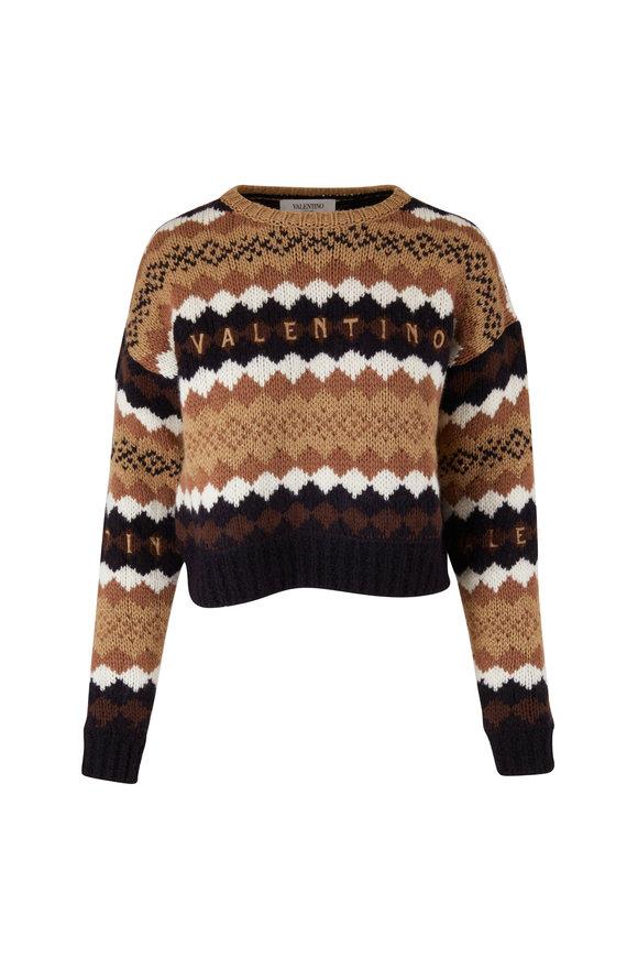 Valentino Cream & Black Wool Jacquard Cropped Sweater