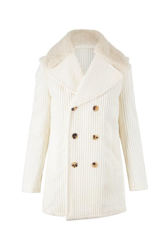 Saint Laurent Off White Shearling Collar Corduroy Coat