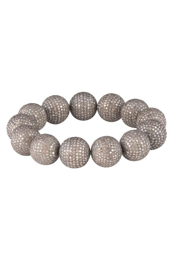 Loren Jewels Silver Pavé-Set Diamond Ball Stretch Bracelet