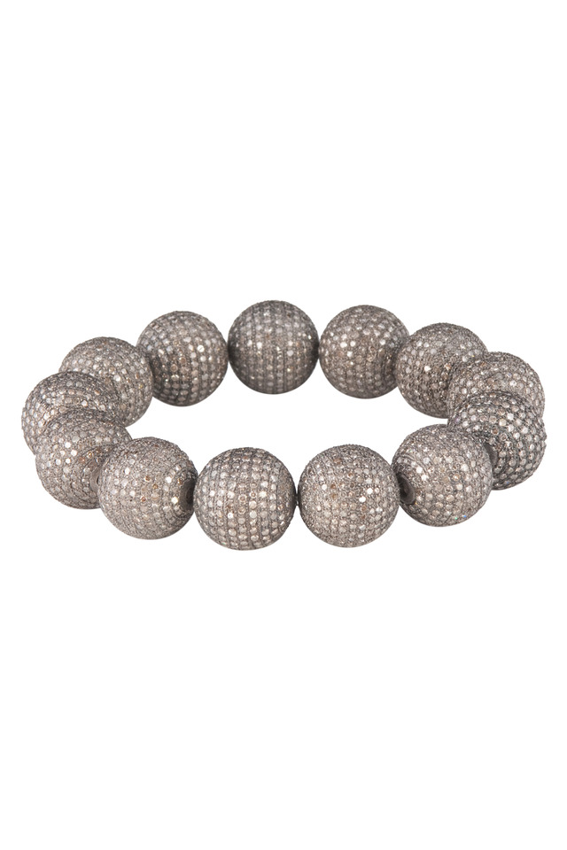 Silver Pavé-Set Diamond Ball Stretch Bracelet