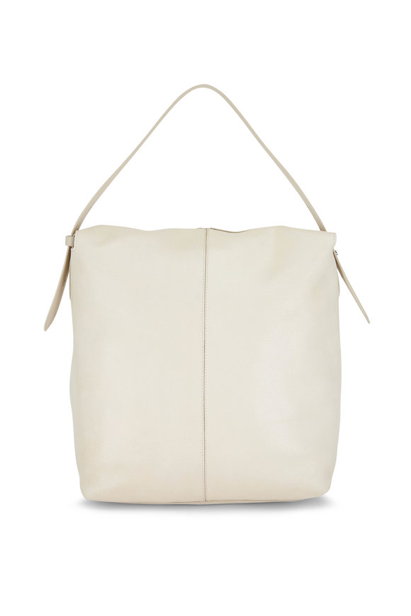 Brunello Cucinelli Off White Leather Shoulder Bag With Zip Pouch