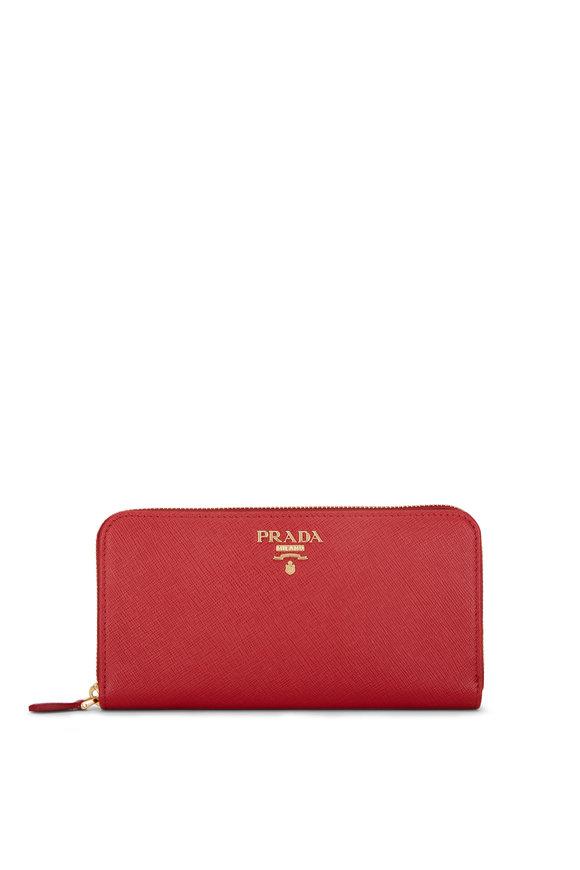 Prada Red Saffiano Leather Zip Wallet