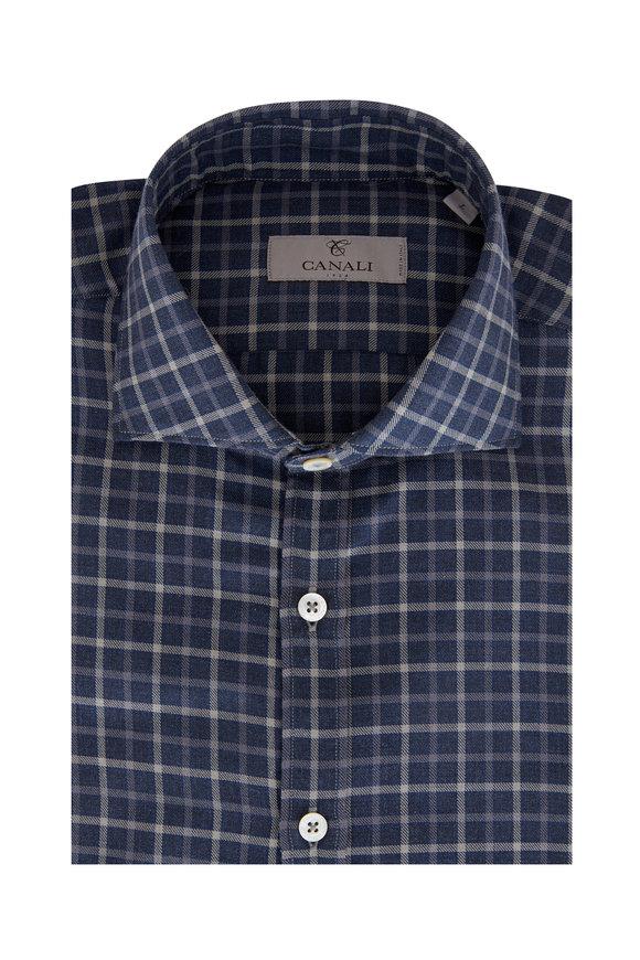 Canali Navy & Gray Plaid Sport Shirt