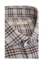 Maurizio Baldassari - Gray & Brown Plaid Sport Shirt