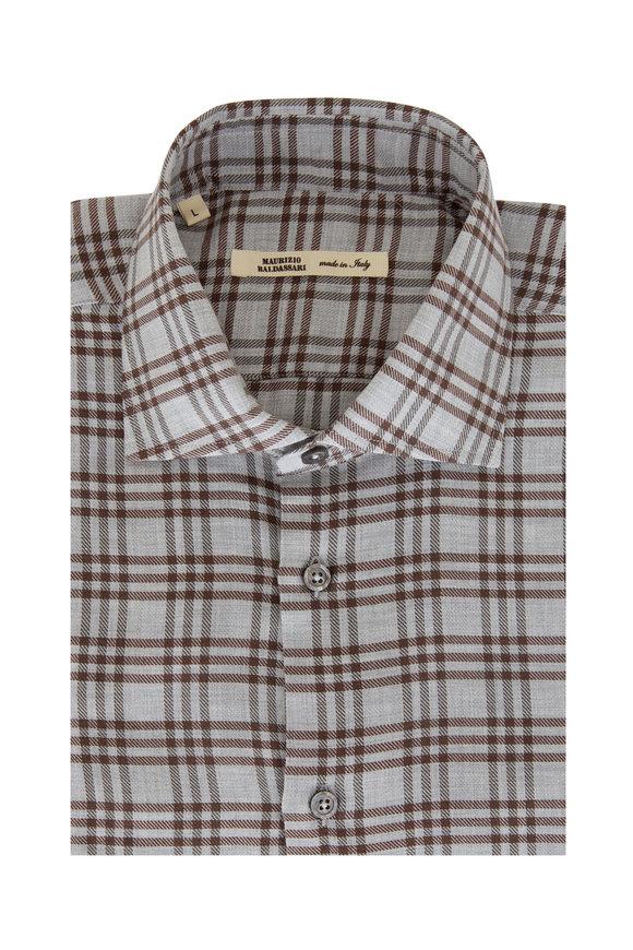 Maurizio Baldassari Gray & Brown Plaid Sport Shirt