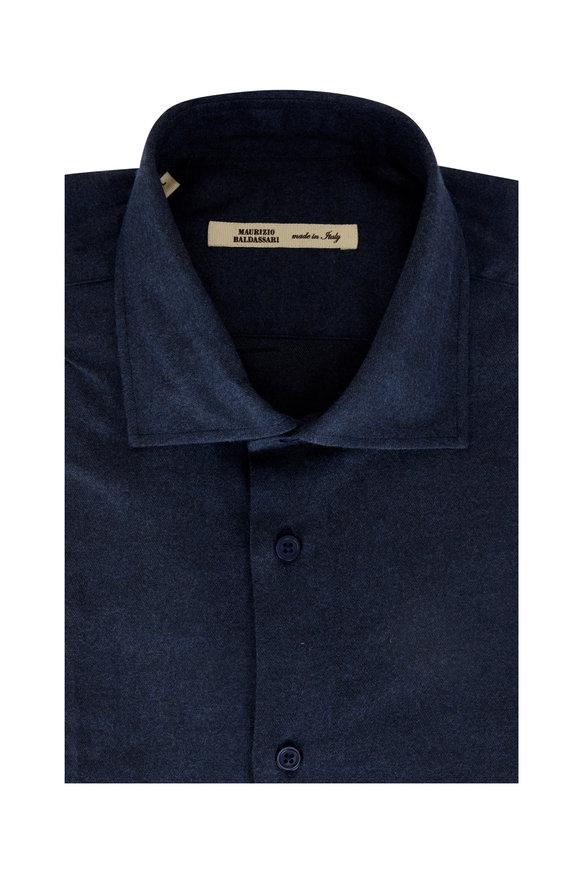 Maurizio Baldassari Solid Navy Chevron Sport Shirt