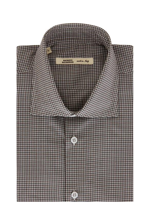 Maurizio Baldassari Taupe Check Wool Sport Shirt