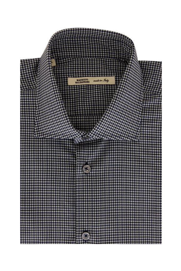 Maurizio Baldassari Slate Blue Check Wool Sport Shirt