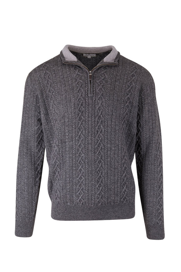 Peter Millar Charcoal Gray Cable Knit Quarter-Zip Pullover