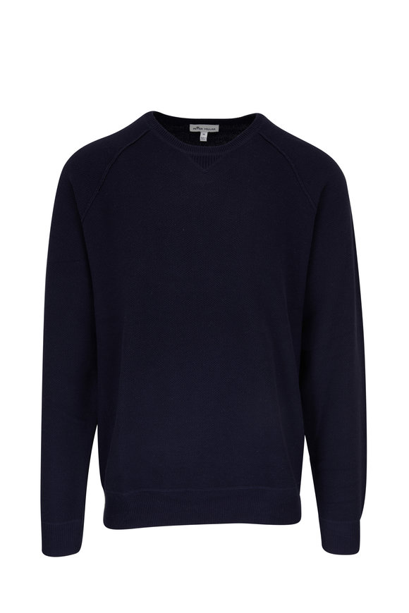 Peter Millar Navy Honeycomb Crewneck Sweater