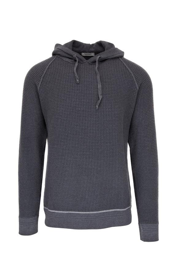 Crossley Charcoal Gray Waffle Wool Hoodie