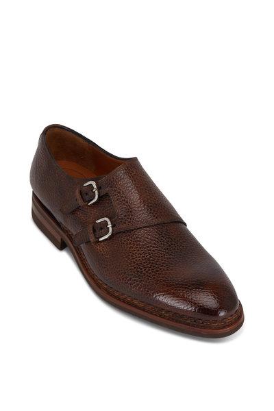 Bontoni - Diamante Chocolate Leather Double Monk Strap Shoe