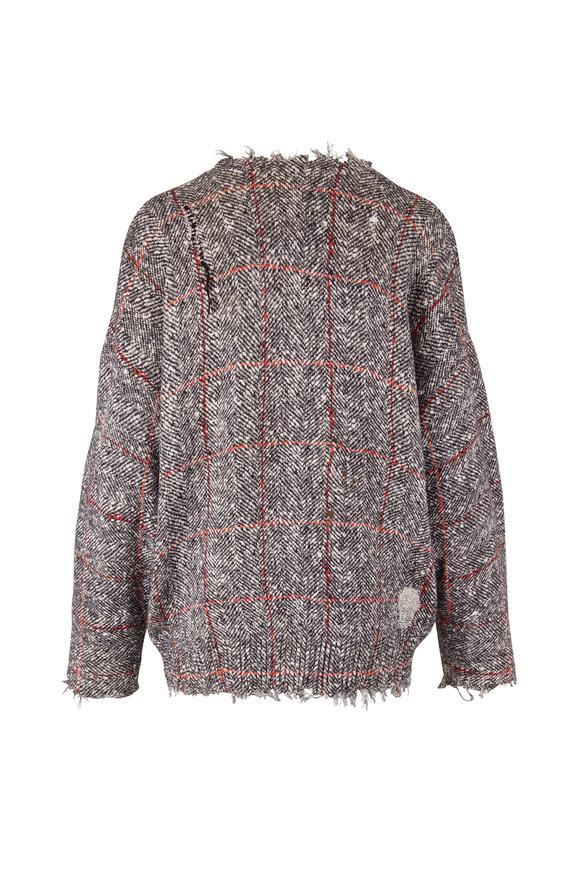 R13 Gray & Brown Printed Tweed Sweater