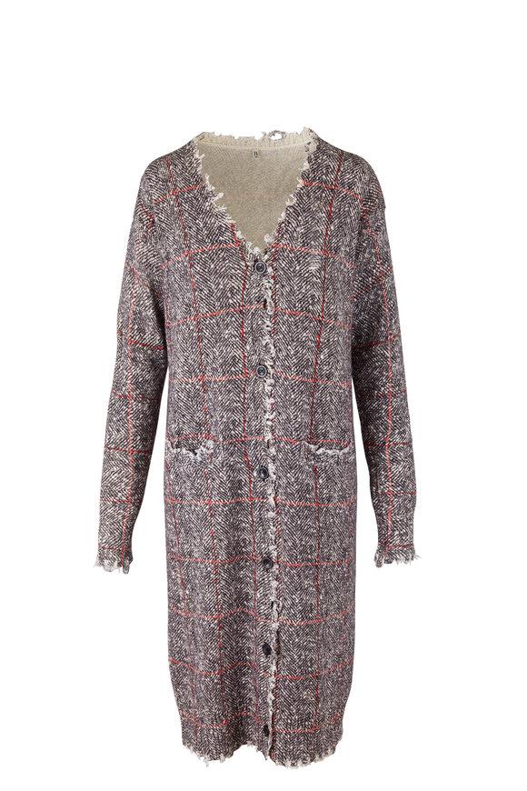 R13 Gray & Brown Printed Tweed Cardigan