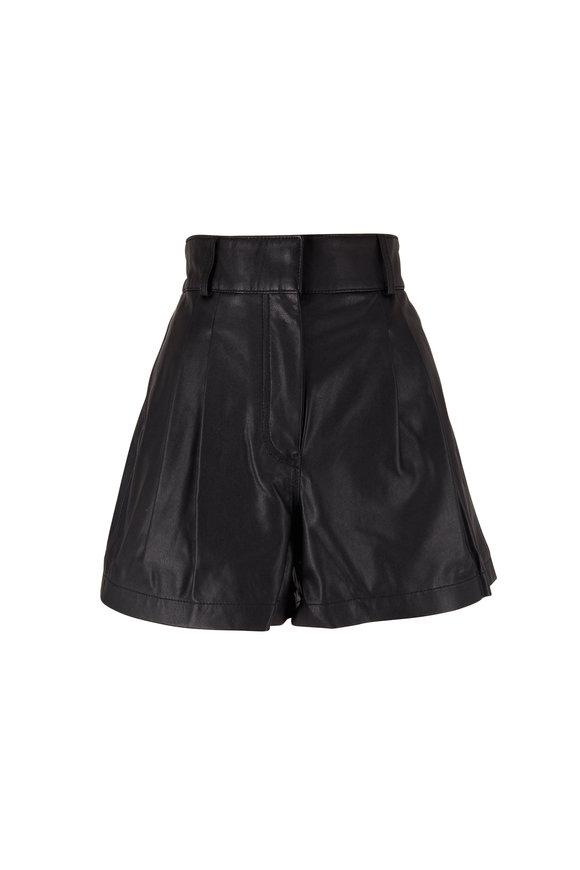 Frame Black Pleated Leather Shorts