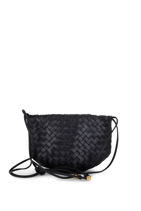 Bottega Veneta Nodini Black Woven Leather Mini Crossbody