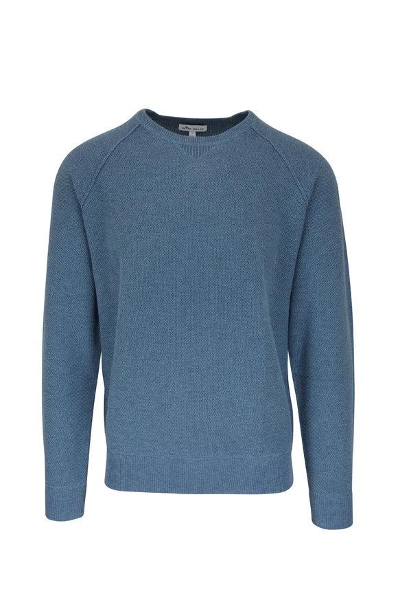 Peter Millar Blue Honeycomb Raglan Crewneck Sweater