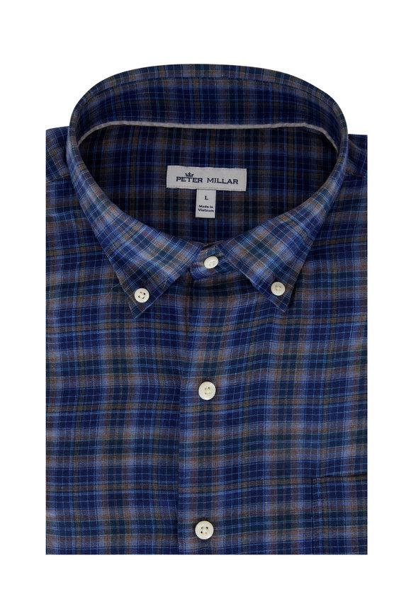 Peter Millar Greenwood Blue Check Sport Shirt