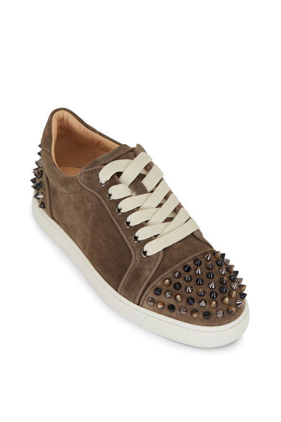 Christian Louboutin Vieira 2 Orlato Brown Suede Spiked Sneakers