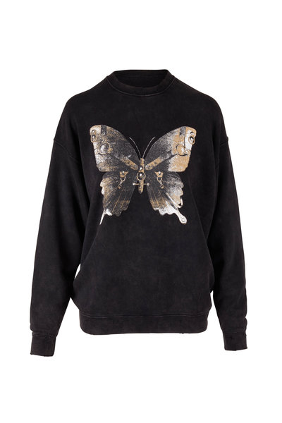 R13 - Bondage Butterfly Black Oversized Sweatshirt