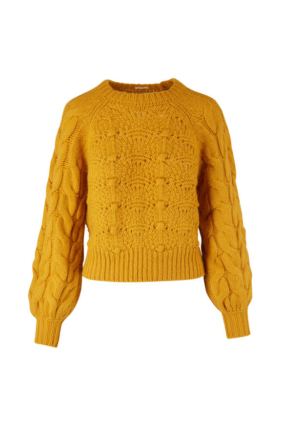 Mother Denim Yellow Bell Sleeve Knit Sweater
