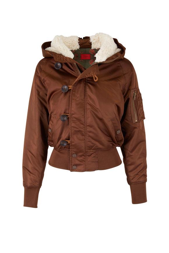 Mother Denim The Puffer Hoodie Brown Jacket