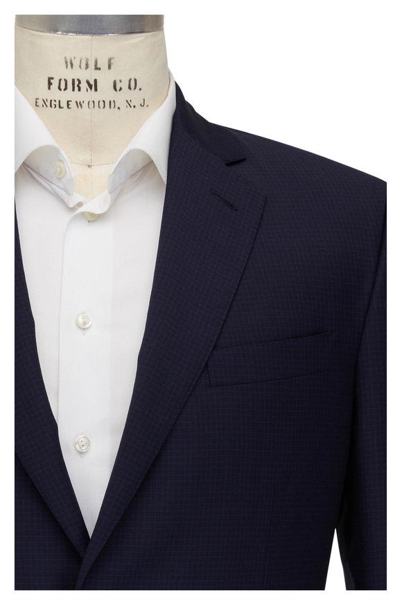 Brioni Navy Tonal Micro Check Wool Suit