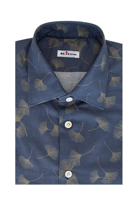Kiton Washed Navy Fiddle Leaf Print Sport Shirt