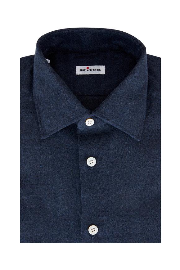 Kiton Blue Stretch Cotton Sport Shirt
