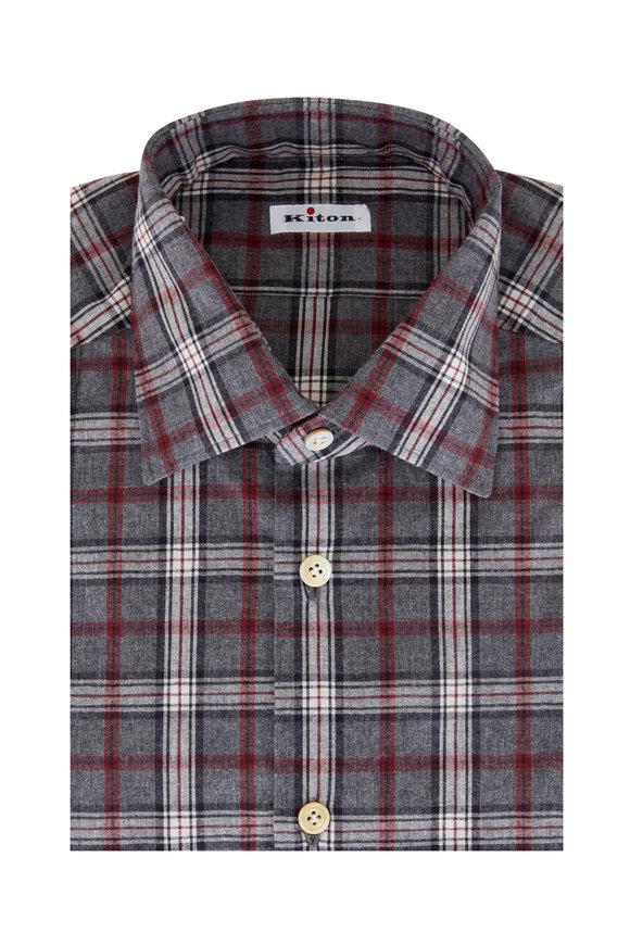 Kiton Gray Plaid Sport Shirt