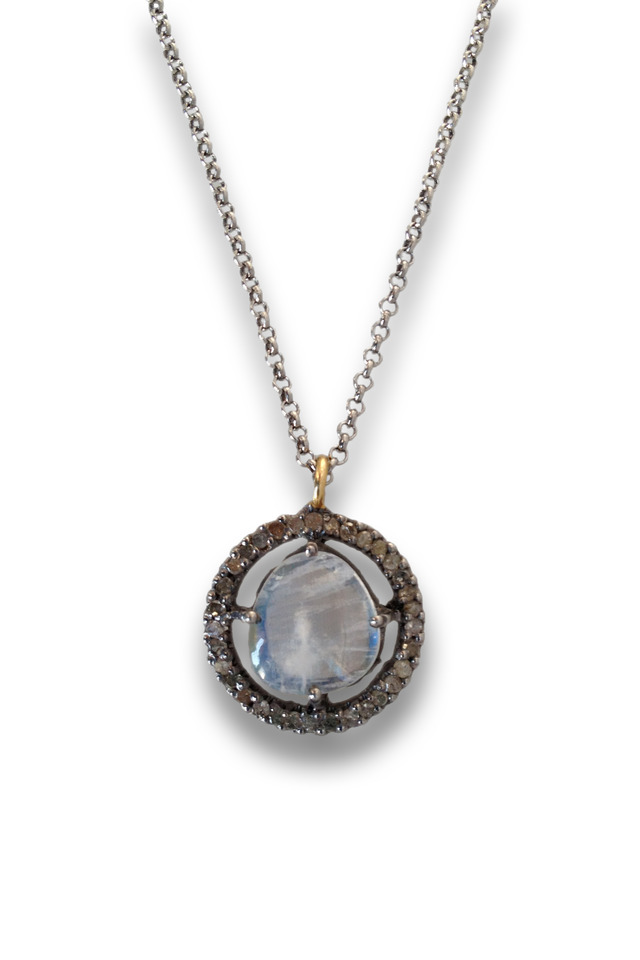 Gold And Silver Moonstone Necklace