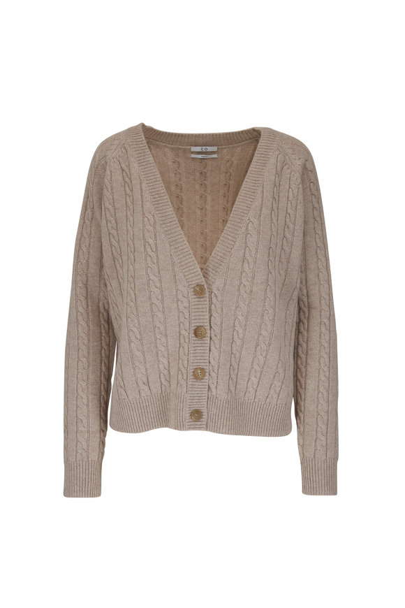 CO Collection Taupe Cashmere Cable Knit Cropped Sweater