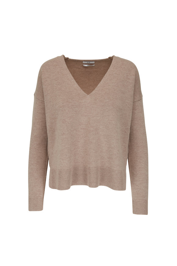 CO Collection Taupe Cashmere & Wool V-Neck Sweater