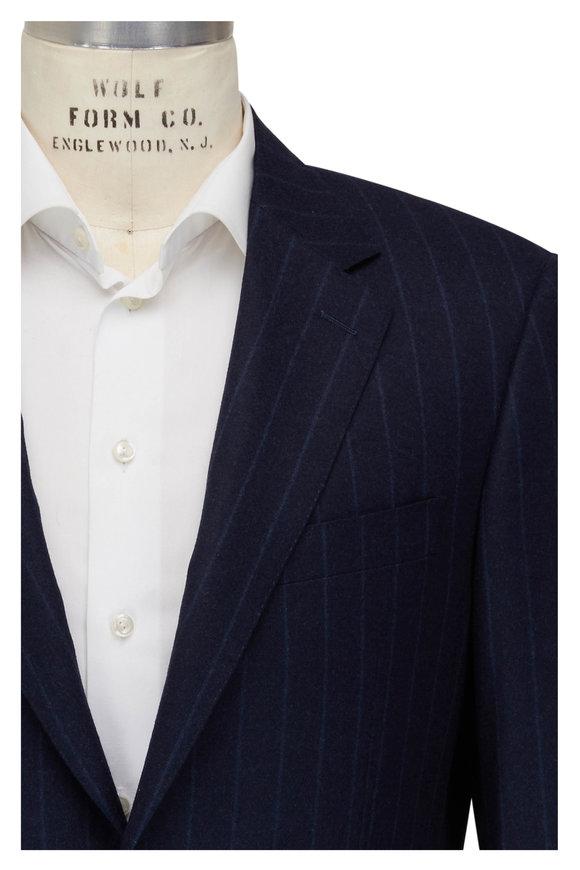 Canali Navy Blue Stripe 120s Wool Suit