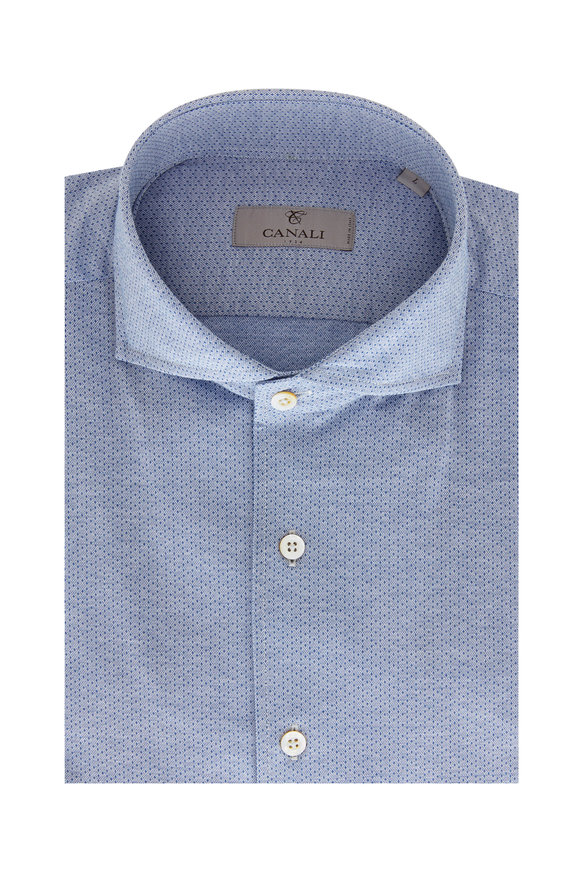 Canali Light Blue Micro Neat Sport Shirt