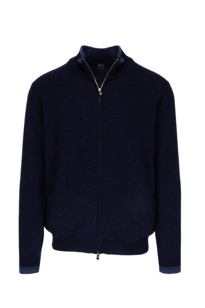 Fedeli - Belagi Navy Cashmere Zip Sweater