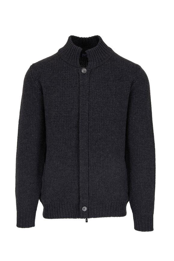 Fedeli Charcoal Gray Textured Zip Cardigan