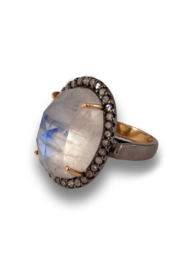Gold And Silver Moonstone Ring With White Diamonds