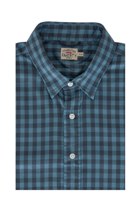 Faherty Brand Movement Stormy Blue Gingham Button Down