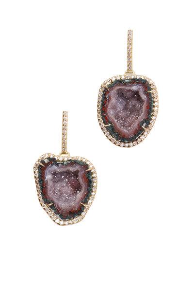 Kimberly McDonald - Yellow Gold Red Geode Diamond Dangle Earrings