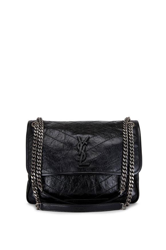 Saint Laurent Niki Black Crinkle Leather Medium Shoulder Bag
