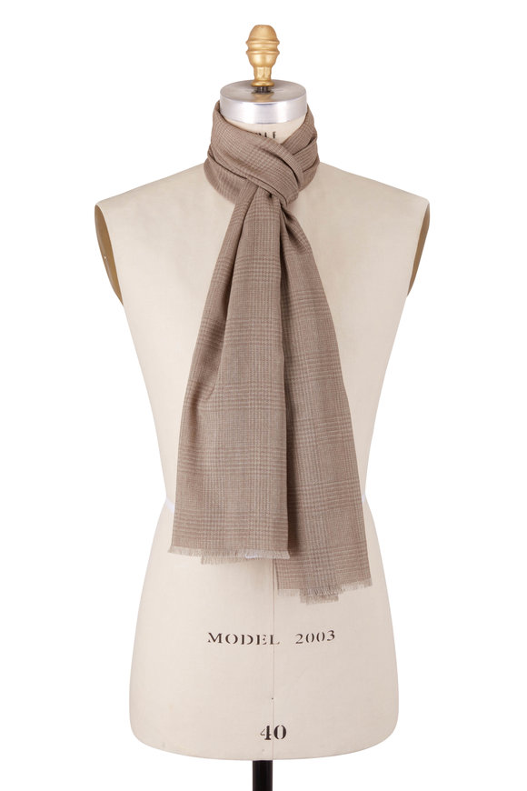Eton Tan Glenplaid Wool Scarf
