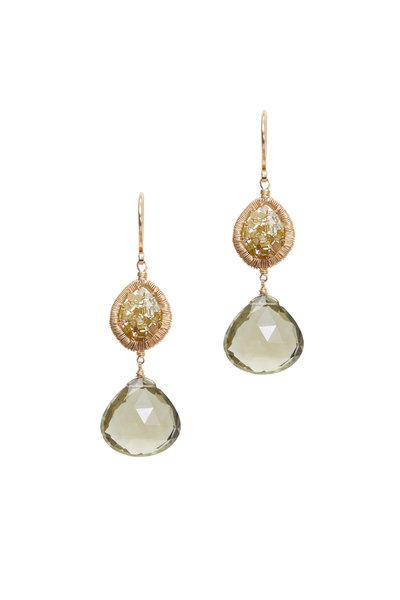 Dana Kellin - Yellow Gold Olive Quartz Ombre Diamond Earrings