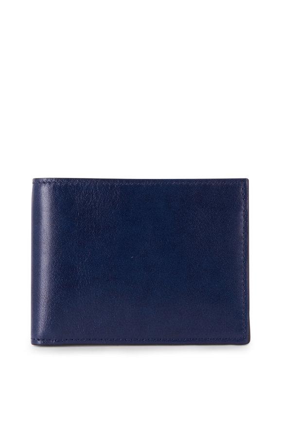 Bosca Navy Leather Bi-Fold Wallet