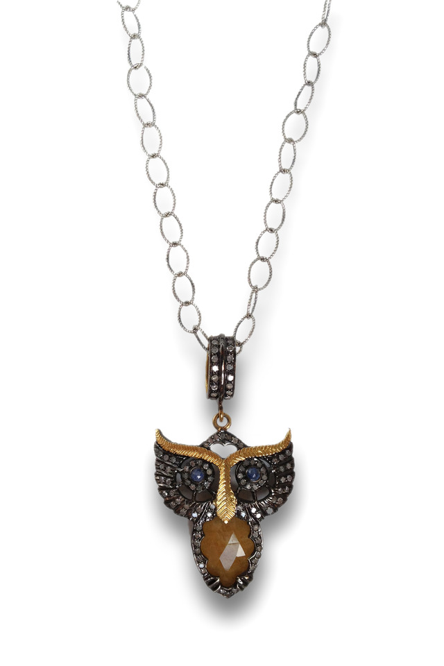 Gold & Silver Yellow Sapphire Owl Necklace