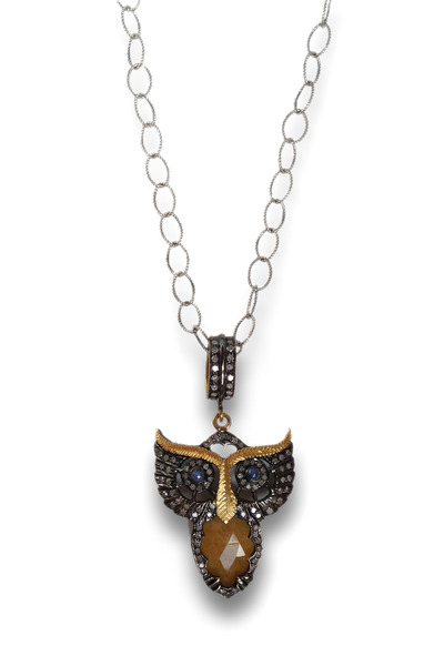 Loriann - Gold & Silver Yellow Sapphire Owl Necklace