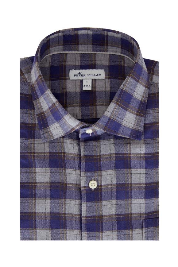 Peter Millar Surrey Navy & Gray Check Sport Shirt