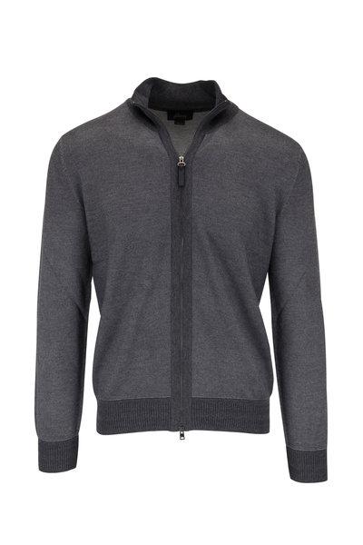 Brioni - Charcoal Grey Full-Zip Sweater