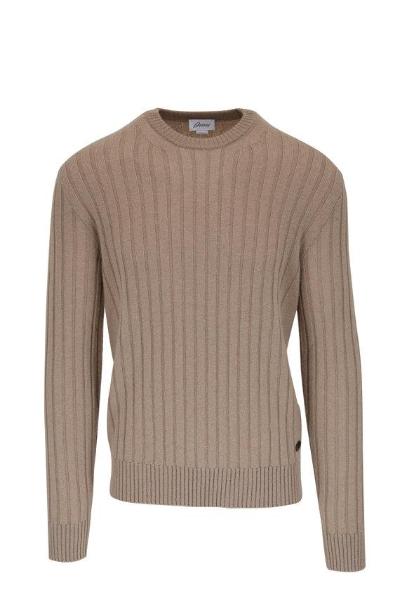 Brioni Tan Cashmere Ribbed Crewneck Sweater